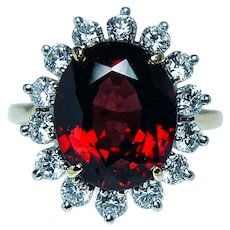 Vintage Large Rhodolite Garnet Diamond Cocktail Ring 18K Platinum
