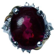 Vintage 11ct Rhodolite Garnet Diamond Platinum 18K Cocktail Ring Heavy Estate