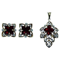 Diamond Garnet Earrings Pendant Set Heavy 18K Gold