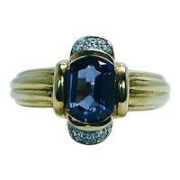 Vintage Fancy Cushion Iolite Diamond Ring 18K Gold Designer Signed Heavy Estate