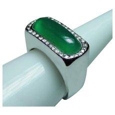 Vintage Chalcedony Diamond Mens Man Ring 14K White Gold Estate Heavy 22.9gr