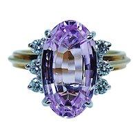 Vintage Flawless Kunzite Diamond Ring High Quality 18K Gold Designer Signed 5ct