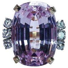 Designer 18ct Cushion Kunzite Diamond Ring 18K Gold Vintage Estate Signed GIA Appraisal