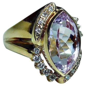18K Gold Kunzite Diamond Ring High Quality Heavy 6.92ct