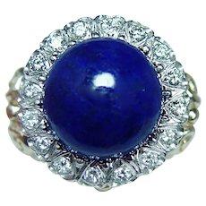 Giant Vintage Lapis Lazuli Turquoise Coral Diamond Ring 14K Gold Interchangeable