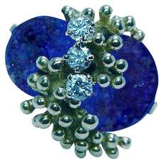 Vintage Lapis Lazuli Diamond Ring 18K Gold Estate Heavy