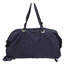 Lanvin France Handbag Black Felt Papillote Bowling Good Condition Dustbag