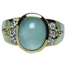 SEIDENGANG SEIDEN GANG Moonstone Diamond Ring 18K Gold Heavy Designer Estate Jewelry