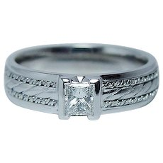 Vintage Princess Diamond Mens Wedding Ring Band Heavy Estate  .58ct VS-G  Size 11.25