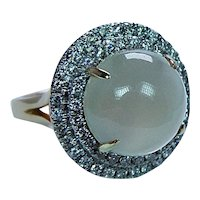 Moonstone Cats Eye Diamond Halo 14K Gold Cocktail Ring Estate