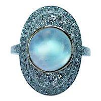 Art DECO Sugarloaf Moonstone European Diamond Platinum Ring Estate