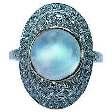 Art DECO Sugarloaf Moonstone European Diamond Platinum Ring Estate
