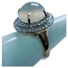 Vintage Moonstone Cats Eye Diamond Halo 14K Gold Ring Estate