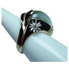 Vintage 14K Gold Diamond Huge Moonstone Ring Estate Heavy