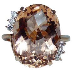 Vintage 18K Pink Rose Gold 13ct Flawless Morganite Diamond Estate Ring Heavy