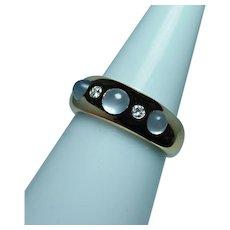 Vintage 18K Gold Moonstone Diamond Ring Designer Signed Estate