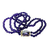 14K Gold Amethyst Diamond Clasp Necklace