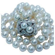 Vintage Salt Water Pearl Diamond Necklace 14K White Gold Double Strand Midcentury