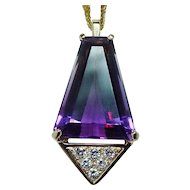 Giant Ametrine Diamond Necklace 18K Gold Heavy Designer