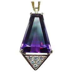 18K Gold Ametrine Diamond Necklace Heavy Signed Giant