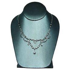 Antique 5.2ct Old European Mine Diamond Platinum 14K Gold Festoon Necklace