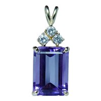 8ct Amethyst Diamond Necklace 14K Gold