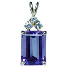 Vintage 8ct Amethyst Diamond Necklace 14K Gold Estate