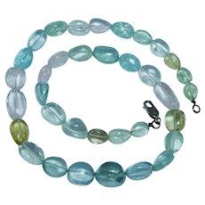 "270 ct Natural Aquamarine Necklace 19"" Blue Pink Green Yellow"