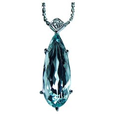 Large H Stern 8.5ct Aquamarine Diamond Necklace 18K White Gold Designer