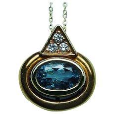 Vintage H Stern 18K Gold Aquamarine Diamond Necklace Designer Signed Petite