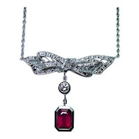 18K White Gold Diamond Ruby Dangle Bow Necklace