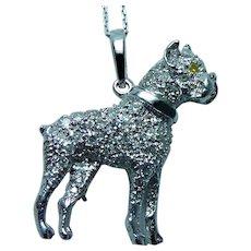 Vintage Diamond Platinum Dog Animal Necklace Brooch Figural Estate Heavy