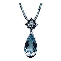Vintage H Stern 18K White Gold Aquamarine Diamond Necklace Designer Dangle Star Charm