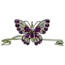 Burmese Ruby Diamond Butterfly 18K Gold Necklace Designer
