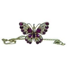 Vintage 18K Gold Burmese Ruby Diamond Butterfly Necklace Designer