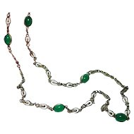 "14K Gold Chrysoprase Chain Necklace 24"" Heavy Fine Quality"