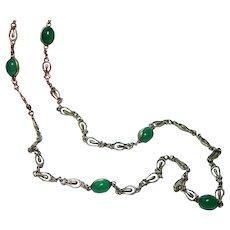 "14K Gold Chrysoprase Chain Necklace 24"" Heavy Fine Quality"