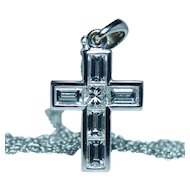 18K White Gold Emerald cut Diamond Cross Necklace Platinum Chain 20""