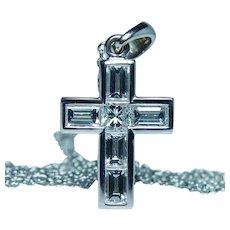 "18K White Gold Emerald cut Diamond Cross Necklace Platinum Chain 20"""