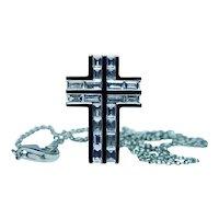 18K White Gold Baguette Diamond Cross Necklace Platinum Chain 1ct
