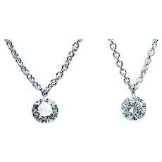 Vintage Platinum Floating Dangling Diamond Necklace Estate VS-GH