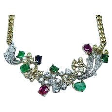 Certified Vintage Formal Diamond Ruby Emerald Sapphire Necklace 18K Gold Estate