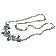 Formal Diamond Ruby Emerald Sapphire Necklace 18K Gold GIA Certified