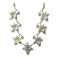 Ivy Leaf Diamond Necklace 14K Gold Heavy ITALY Naturalistic