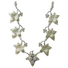 Vintage Diamonds Ivy Leaf Necklace 14K Gold Heavy Estate ITALY Naturalistic