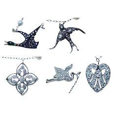 ART DECO Platinum 18K Old European Diamond Swallow Duck Heart Charm Necklace