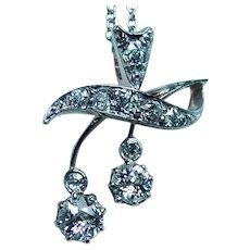 Art Nouveau European Diamond Berry Branch 18K Platinum Necklace