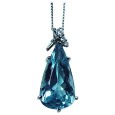 Vintage H Stern 18K White Gold 7.5ct Aquamarine Diamond Necklace Designer