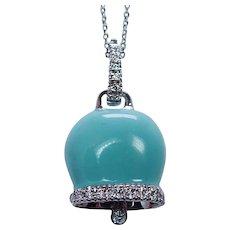 Diamond Bell Necklace 18K White Gold Robin Egg Blue Turquoise Enamel Enhancer Italy