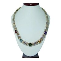 Tourmaline Garnet Amethyst Diamond Necklace 14K Gold Heavy Designer DENOIR